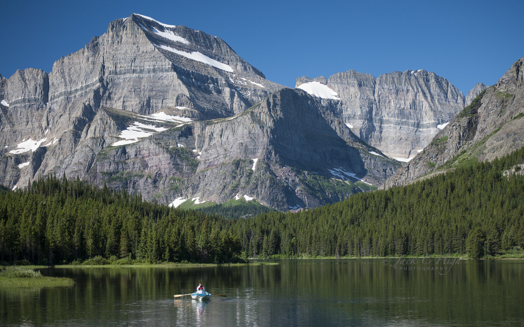 Boating on Swiftcurrent Lake